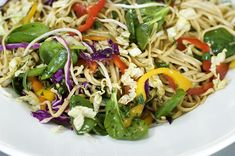 Asian Inspired Noodle Salad - loaded with vegetables and tossed in tangy dressing, it keeps well in the fridge - ideal for weekday lunches
