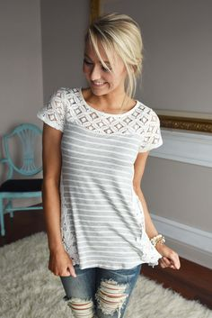 Stripes & Lace Top – The Pulse Boutique