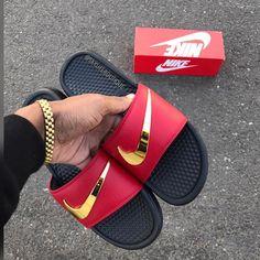 006cc45bf72 Ironman Nike Benassi Swoosh - Golden Check Slides - Size up one for men -  Down