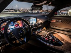 The Mercedes AMG-GT is a sports car monster - and it's got the Porsche 911 in its sights Mercedes Benz Amg, Mercedes Benz Interior, Mercedes G Wagon, Best Car Interior, Car Interior Design, Luxury Interior, Maserati Models, Chevy, Automobile