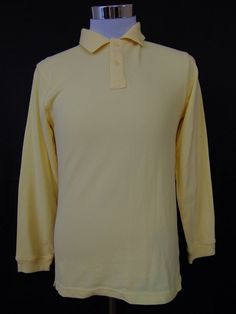 Izod Polo Shirt Yellow Long Sleeve Cotton Blend Size Large (14/16) #1071 #IZOD #PoloShirt #Casual