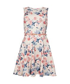 White Pattern (White) White textured Floral Belted Skater Dress