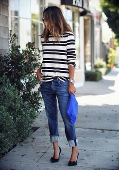 ...❤️ Black&White stripes + boyfriend jeans