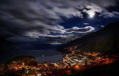 City Cityscape Night Lights New Zealand Landscape Bay Building Trees Forest Hills Clouds Long Exposure Moonlight Wallpaper Beautiful World, Beautiful Places, Beautiful Scenery, Amazing Places, Beautiful Sky, Stunning View, Queenstown New Zealand, New Zealand Landscape, Hdr Photography