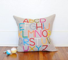Modern Abc Alphabet Pillow  Linen and Felt  by by pillowfactory, - love this idea! Jude's room