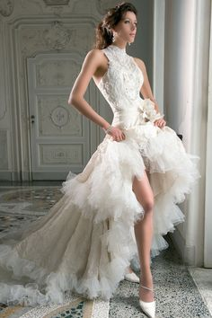 Demetrios Blue B158, high low wedding dress, love this for a vow renewal!