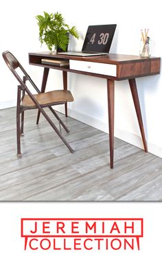 this mid century walnut laptop desk is lean in dimension and can comfortably sit in a small office or apartment bedroom for those that work from home