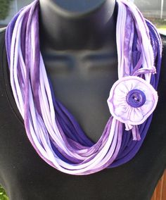 WILD VIOLETS Infinity scarf Tshirt scarf necklace by solardawn, $18.00