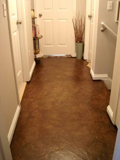 Hallway Makeover- paper floors  http://lovelycraftyhome.com/2011/04/12/hallway-makeover/