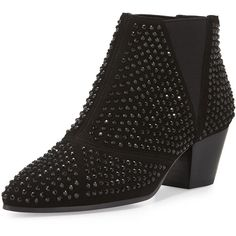 Ash Hypnotic Studded Ankle Boot ($290) ❤ liked on Polyvore featuring shoes, boots, ankle booties, black, pointed toe ankle boots, ankle boots, black leather bootie, leather booties and leather boots