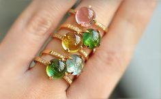 18k gold and Tourmaline gemstone and diamond RING jewelry, hand-polished stones, hand-made--