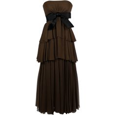 Sarmi Rich Chocolate Brown Tiered Chiffon Gown