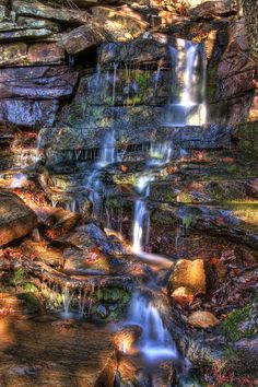 Nebo Falls, Mt Nebo State Park, Dardanelle, Arkansas. From Russellville: South on hwy 7 towards Dardanelle, left on Hwy 155 and climb to top of Mt Nebo. Left at stop sign, right at next stop sign,  park at Gum Springs Trail. Waterfall is approx 100 yards down this trail.