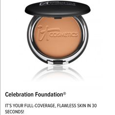 "NIB! IT Cosmetics Celebration Foundation! NIB! IT Cosmetics Celebration Foundation in ""Rich"" Full coverage anti-aging powder foundation. Brand new in box, never used. Beautiful finish! I'll bundle on shipping! See my shop for other shades! Makeup Foundation"