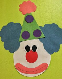 Clown Face Decoration or craft for preschool-circus theme fun! Circus Crafts Preschool, Circus Activities, Clown Crafts, Carnival Crafts, Carnival Themes, Daycare Crafts, Preschool Themes, Toddler Crafts, Crafts For Kids