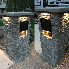 Mailbox column/post. Faux stone over cinderblock. Metal address plate (from Amazon), LED lighting (from Volt)