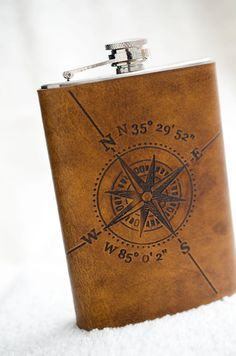 8oz Compass Rose Flask with Latitude and Longitude by Cjohannesen, $39.00