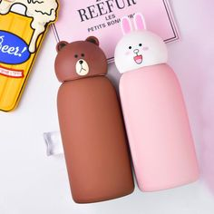 Capacity: (inclusive) (inclusive) Insulation duration: 6 hours and 42 degrees or more Material: 304 stainless steel Color classification: bear mug mug rabbit mug leakproof and no smell Thermos Water Bottle, Drinking Water Bottle, Cute Water Bottles, Kawaii Shop, Kawaii Cute, Vacuum Cup, Gadgets, Kawaii Accessories, Cute Cups