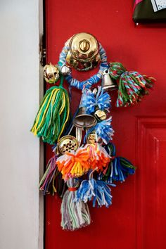 Yarn Tassels and Jingle Bells on the Doorknob