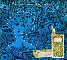 goshyesvintageads:    psychedelic-sixties:    Eve CigarettesIllustration by John Alcorn    (1970)