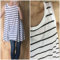 Black and White Striped Swing Tunic NWT softest striped tunic tank in black and white! Seriously the softest! Perfect basic and would work with any kind of pants or leggings. Could even work as a cute swim cover for shorter girls  Fit is oversized. I am small modeling the medium. Modal/cotton blend. Tops
