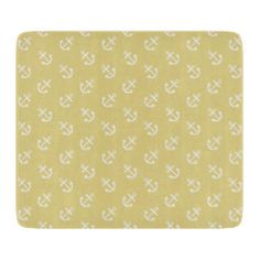 White Anchors Custard Yellow Background Pattern Cutting Board