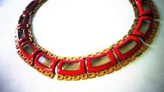 red MATISSE Copper NECKLACE gorgeous Art Deco Renoir DIANA Pattern Vintage Rare signed jewelry