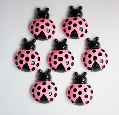 Ladybug+Pink+Flat+Back+Resins+QTY+of+5++Bow+by+HairbowSuppliesEtc,+$6.00