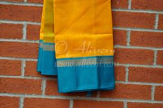 Bold Yellow Kuppadam Saree with Woven motifs all over and Teal Blue/Zari Border - Aliveni  - 3