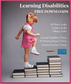 National Center for Learning Disabilities offer free toolkits and e-books for LD, Dyslexia, IEPs, bullying and more.