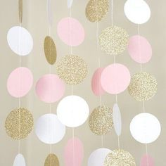 I like this Pink White and Gold Glitter Circle Polka Dots Paper Garland Banner 10 FT Banner