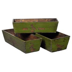 Set of three wood nesting planters in distressed green.  Product: Set of 3 plantersConstruction Material: Wood