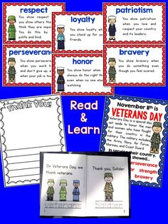Veterans Day for K and 1st - mini books, thank you letters, character education words, $