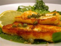 Fried Halloumi Cheese with Lemon and Caper Vinagerette