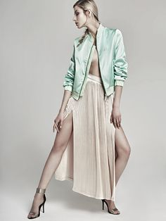 Here's a sneak peek of our new collection!! Pleated ivory skirt combined with a silk, green mint bomber jacket - perfect outfit for a summer day! #fashion #fashionstyle #fashionphotography #fashionmagazine #fashionlabeloanapop #oanapop #fashioncatalog #outfit #details #pleatedskirt #silkbomberjacket #bomberjacket