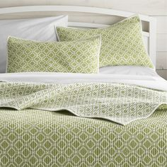 Raj Reversible Green King Quilt - Crate and Barrel