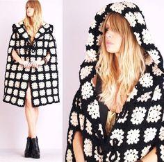 Vtg 70s Granny Square Crochet Knit Cutout Boho Huge Hood Draped Jacket Coat Cape | eBay sold $200: