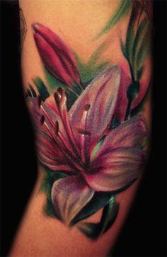 lily flowers tattoo 5 - 60 Beautiful Lily Tattoo Ideas <3