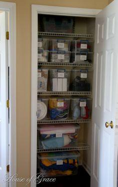 Coat Closet Turned into a Functional Organized Closet closet organization. Office Shelf, Closet Office, Hall Closet, Office Den, Coat Closet Organization, Closet Storage, Home Organization, Organisation Ideas, Organizing