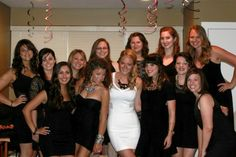All the girls wear LBD and the bride to be wears a white or sparkly dress. For a bachelorette  party