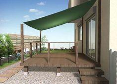 デザイナーブログ 【カテゴリー:日よけで暑さ対策!】 Outdoor Gardens, Indoor Outdoor, Outdoor Living, Outdoor Decor, Patio Shade, Wooden Decks, Building A Deck, Japanese House, Garden Planning
