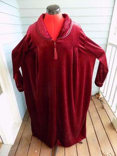 Wine Colored Velour Maxi Robe Cinema Etoile Plus Size 2X Zip Front Length 52    eBay