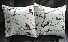 Throw pillow covers red silver grey gray birds design by VeeDubz, $40.00