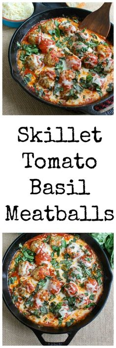 This Skillet Tomato Basil Meatballs is warm, cheesy and the perfect appetizer for a party, game day or for your family to enjoy. Tomato basil meatballs are cooked in a rich tomato sauce and topped with gooey, warm cheese and fresh basil. Pair it with warm