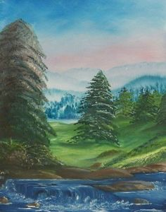 Original Oil Painting of a Meadow with Trees