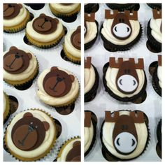 bear and moose baby shower | ... by hand i call these my chocolate moose and beary vanilla cupcakes