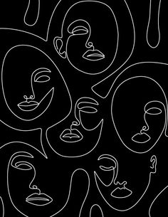 Faces in Dark Mini Art Print by Explicit Design - Without Stand - x Art Sketches, Art Drawings, Face Line Drawing, Drawing Faces, Abstract Face Art, Face Lines, Canvas Prints, Art Prints, Canvas Art