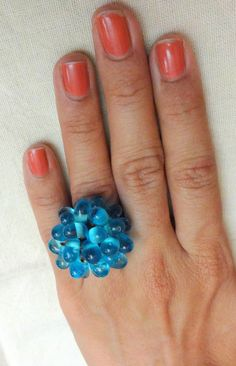 Cluster Ring / Cocktail Ring / Adjustable Ring / Beaded by uDazzle