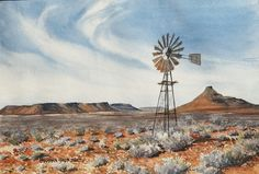 Barbara Philip - African Painting Dry karoo landscape with windmill African Life, South African Art, Windmill Art, Black And White Art Drawing, Canvas Painting Projects, African Paintings, School Painting, Country Paintings, Cool Art Drawings