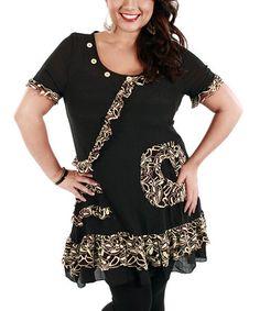 Look at this #zulilyfind! Black & Beige Lace-Trim Short-Sleeve Tunic - Plus by Lily #zulilyfinds